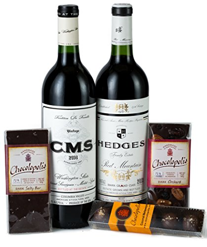 Hedges Family Estate Red Mountain Seduction Gift Set with Chocolopolis chocolate selection, 2 X 750 mL