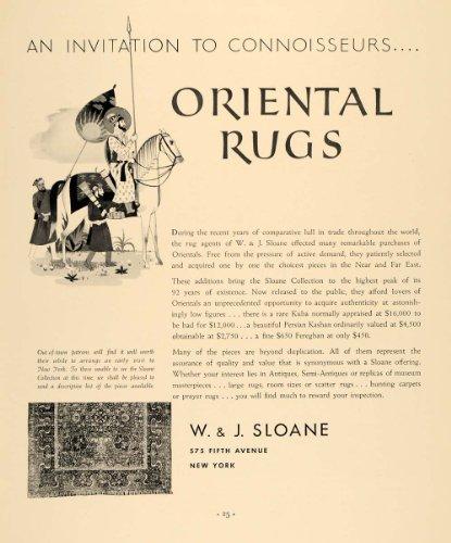 1935 Ad W J Sloane Oriental Rugs Kuba Persian Kashan - Original Print Ad