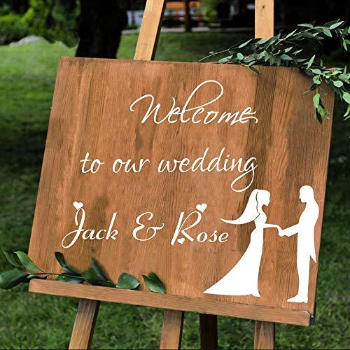 WSLIUXU Couple Name Wall Decor Vinyl Sticker Mural Welcome Sign DIY Decal Wedding Decoration Poster Detachable Home Garden Wall Sticker Fuchsia 36 56x80cm ()