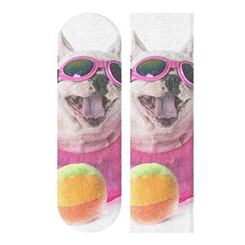 "YYZZH French Bulldog Dog Tennis Ball On White Skateboard Grip Tape 9""x33"" Anti Slip Sandpaper Longboard Scooter Griptape Sheet Sticker"