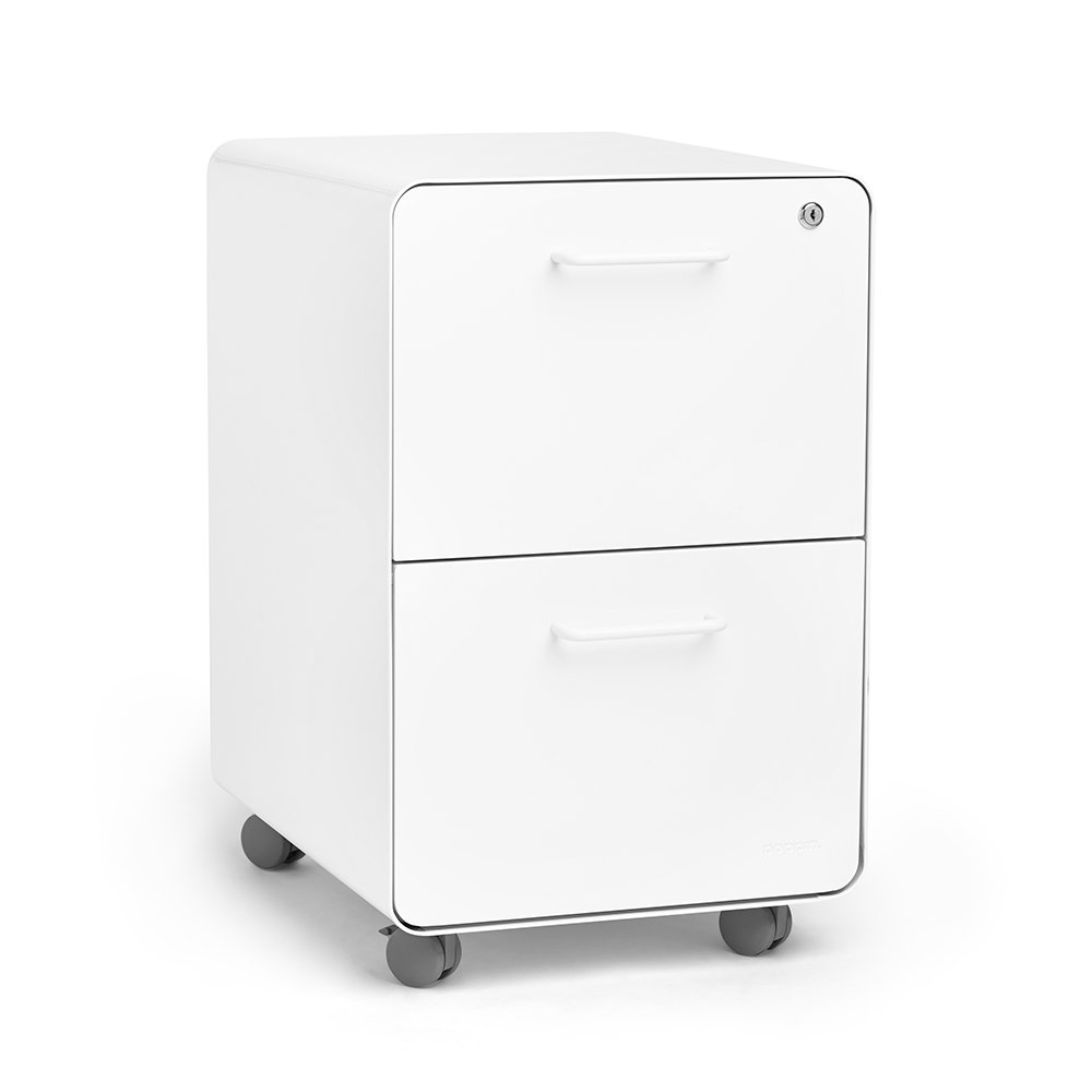 Poppin White Stow Rolling 2 Drawer File Cabinet, Metal, Legal/Letter