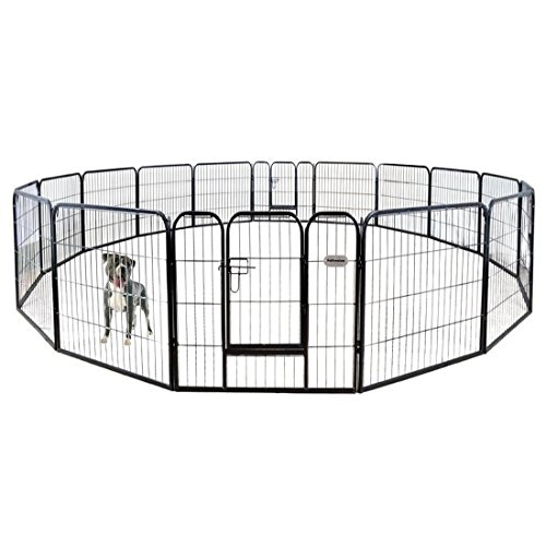 PetPremium Dog Pen Metal Fence Gate Portable Outdoor RV Play Yard | Heavy Duty Outside Pet Large Playpen Exercise | Indoor Puppy Kennel Cage Crate Enclosures | 32' Height 16 Panel