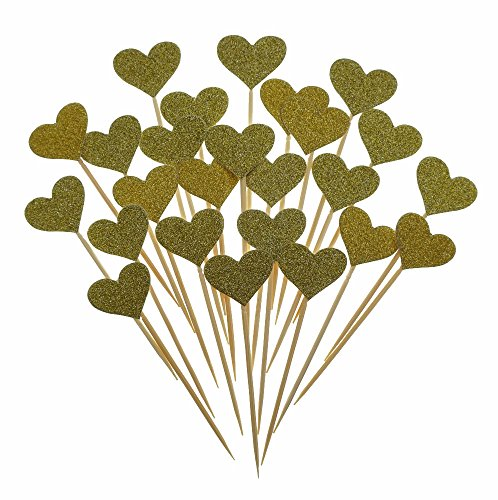 Bilipala-Gold-Hearts-Cake-Cupcake-Topper-Decorations-Picks-For-Theme-Party-Supplies-50-Counts