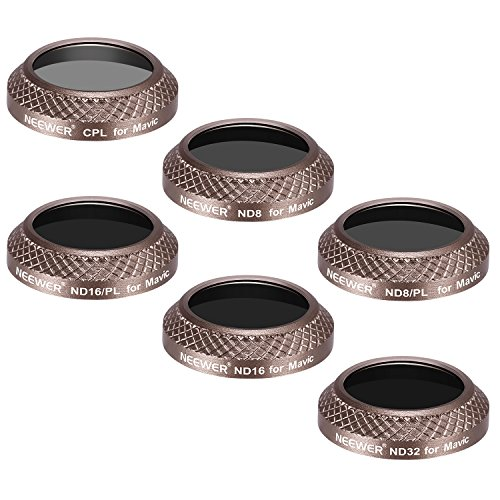 Neewer 6 Pieces Filter Kit for DJI Mavic Pro Drone Quadcopter Includes: CPL, ND8, ND16, ND32, ND8/PL and ND16/PL Lens Filters, Made of Optical Glass, Multi Coated, Aluminum Alloy Frame (Gold) by Neewer