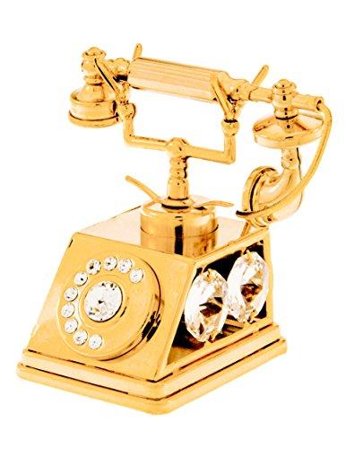 (Telephone 24k Gold Plated Figurine with Swarovski Crystals)