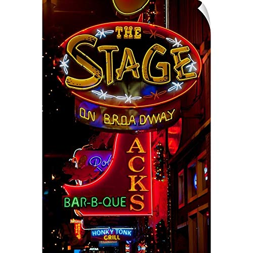 (Panoramic Images Wall Peel Wall Art Print Entitled Neon Signs on Lower Broadway Area, Nashville, Tennessee, USA 24