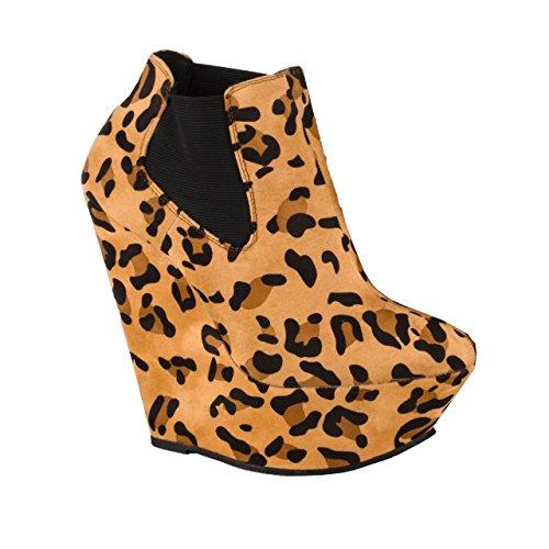 Herstyle Kvinnor Margaret 6-tums Kil Manmade Bootie Leopard