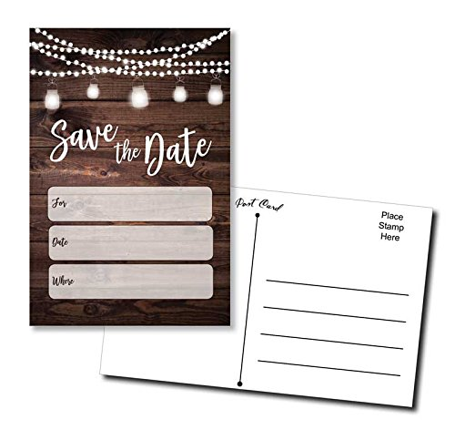 50 Save The Date Postcards Rustic - Wood and Lights - Fill in The Blank (Date The Save Wood)