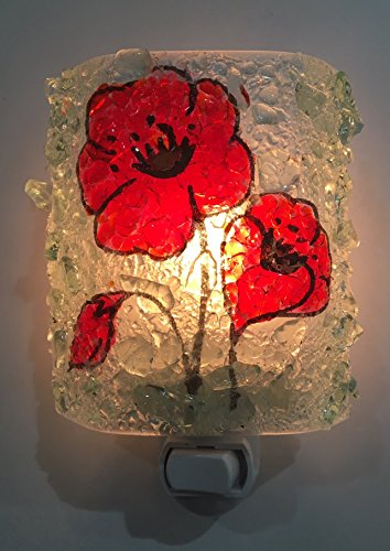 Red Poppy Fused Art Recycled Glass Night Light Poppies Nightlight, Nite Lite Modern Home Accent