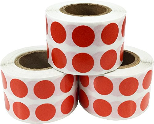 Color Coding Labels Red Round Circle Dots Bulk Pack for Organizing Inventory 1/2 Inch 3,000 Total Adhesive Stickers