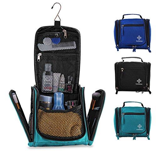 Kleiner Premium Kulturbeutel mit viel Platz   Kompakte Reise-Kulturtasche zum Aufhängen für Frauen & Männer   Wasserresistente Waschtasche   Handliche Kosmetiktasche mit Henkel (Türkis)