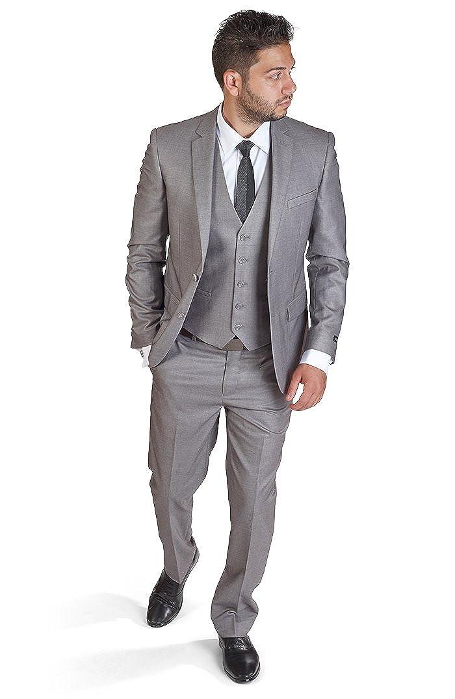 Slim Fit 3 Piece Silver Suit