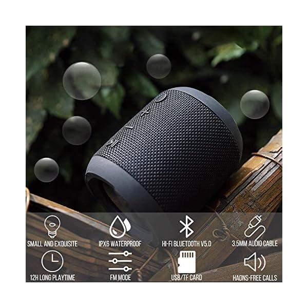 Enceinte Bluetooth Portable, 20W Enceinte Bluetooth Waterproof Audio HD, TWS Haut Parleur Bluetooth 5.0 Pilote Double avec Son 360°, 16 Heures Autonomie Mains Libres Téléphone Support FM, AUX, TF-Noir 6