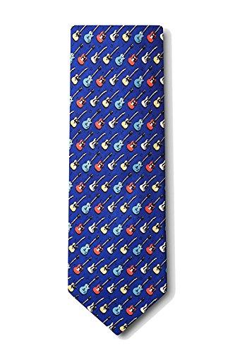 Men's 100% Silk Blue Guitar God Musical Music Necktie Tie Neckwear