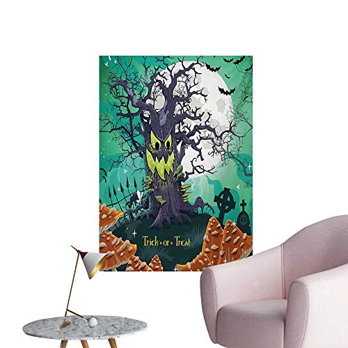 Anzhutwelve Halloween Corridor/Indoor/Living Room Trick or Treat Dead Forest with Spooky Tree Graves Big Kids Cartoon Art PrintMulticolor W24 xL36 Art Poster ()