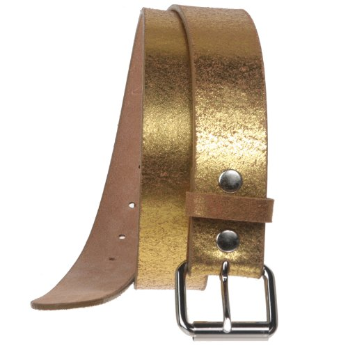 Print Vintage Retro Leather Belt Size: 36 Color: Gold (Leather Print Belt)