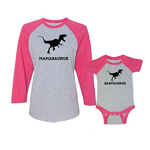 We Match! Mamasaurus & Babysaurus Ladies Baseball T-Shirt