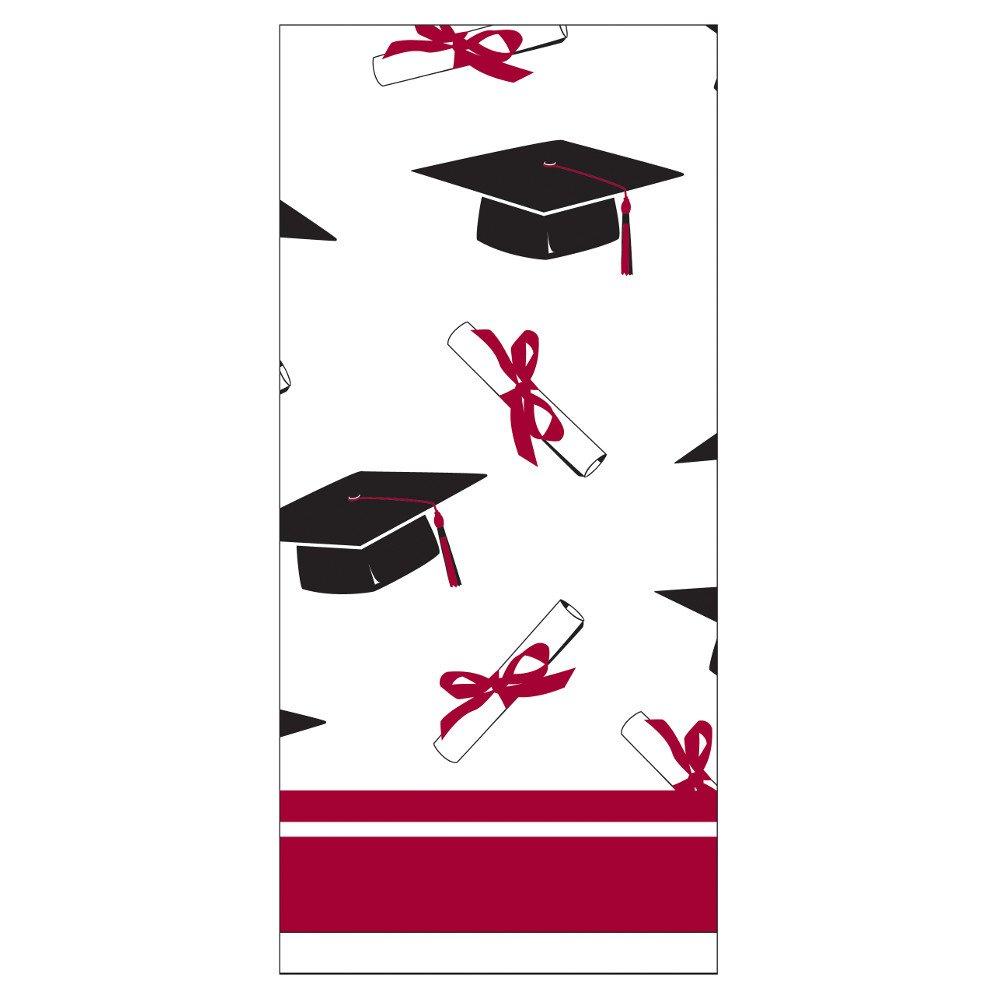 Creative Converting School Colors Paper Art Square Graduation Party Plastic Table Cover, Burgundy