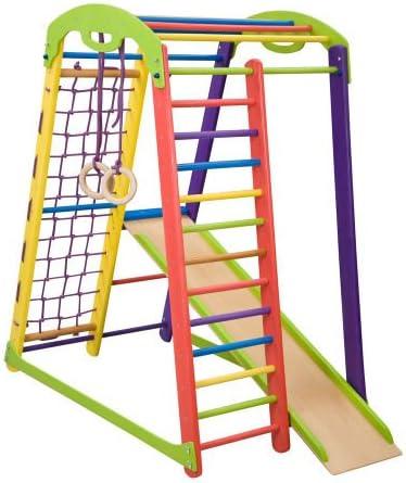 Centro de actividades con tobogán ˝Junior-Color˝, red de escalada, anillos, escalera sueco, campo de juego infantil: Amazon.es: Bebé