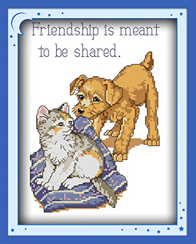 CaptainCrafts Hots Cross Stitch Kits Patterns Embroidery Kit - Puppy Or Kitten (Stamped)