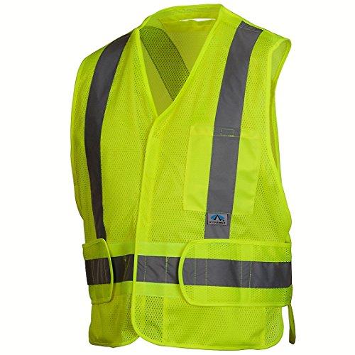 Pyramex Safety - Safety Vest - Hi-Vis Lime Vest with Reflective Tape - Self-Extinguishing - Size 2XL-5XL ()