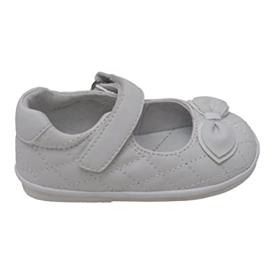 0ce6123fa26e6 Angel Baby Girls White Quilted Strap Bow Mary Jane Shoes 4 Baby
