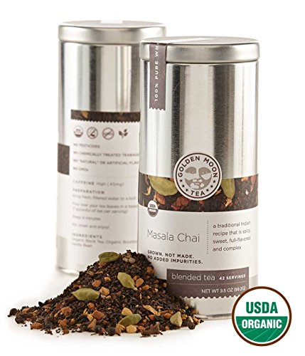 Golden Moon Tea - Masala Chai Tea - Organic - Loose Leaf - Non GMO - 3.5oz Tin - 42 Servings