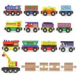 Tiny Conductors 12 Wooden Train Cars, 1 ...