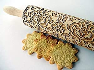 DAMASK embossing rolling pin. Wooden embossing rolling pin with flowers. Oriental flowers. Embossed cookies with flowers. Damask pattern. From Europe