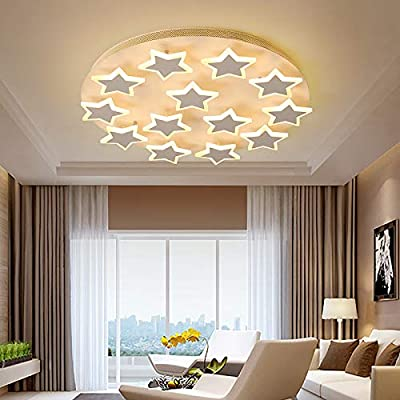 LITFAD Modern Art Deco White Ceiling Light Star Design LED Flushmount Pendant Light for Living Room,Children's Room,Kids Bedroom