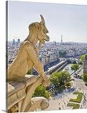Canvas On Demand Premium Outdoor Canvas Wall Art Print entitled Gargoyle, View from Notre Dame, Paris