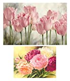 eGoodn 2 Pack Diamond Painting Full Drill DIY Art Beads Cross Stitch Kit, Pink Tulips and Peony Flowers, No Frame