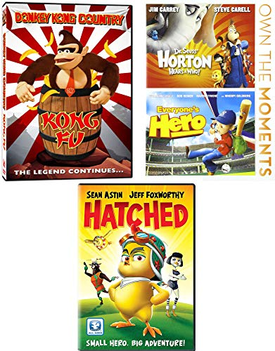 Small Hero Big Adventure Dr. Seuss Horton Hears a Who + Hatched & Donkey Kong Country Kong Fu Legend & Everyone's Hero Baseball Cartoon Movie DVD Pack ()
