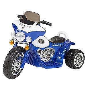 Mini Three Wheel Blue Police Chopper - Includes Set of 12 Bonus Safety Cones!