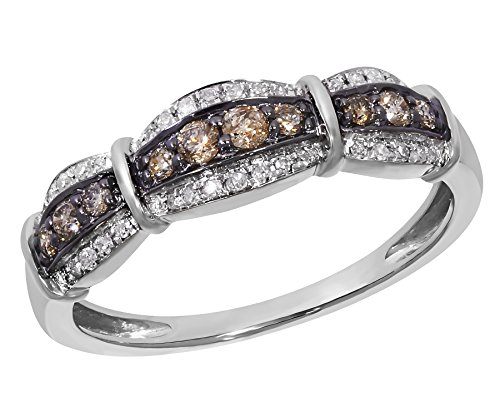 - Prism Jewel 0.29 Carat Natural Brown & White Diamond Anniversary Ring Crafted In 14k White Gold Size 6