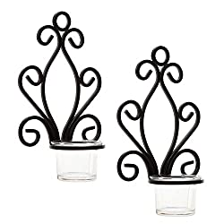 Hosley Set of Two, Iron Wall Sconce, Tea Light Can