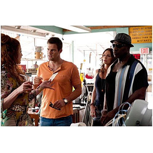 Bones The Finder Episode Michael Clarke Duncan as Leo Knox Wearing Hat and Sunglasses and Geoff Stults as Walter Sherman and Saffron Burrows as Ike Latulippe Standing Talking in Shop - Sunglasses Timeline