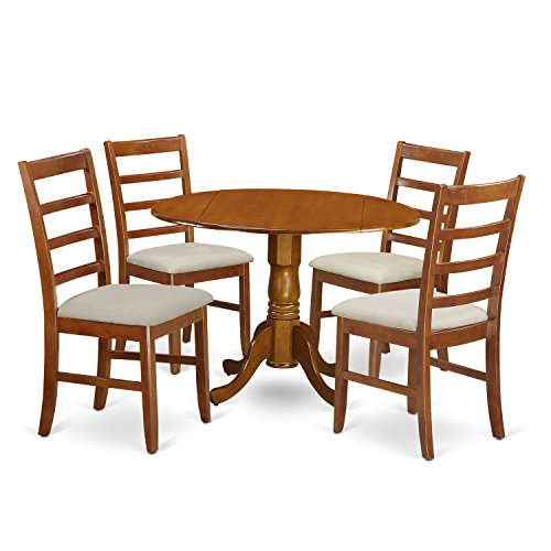 East West Furniture DLPF5-SBR-C 5Piece Small Kitchen Table & Chairs Set-Round Table & 4 Microfiber Upholstery Dinette Chairs