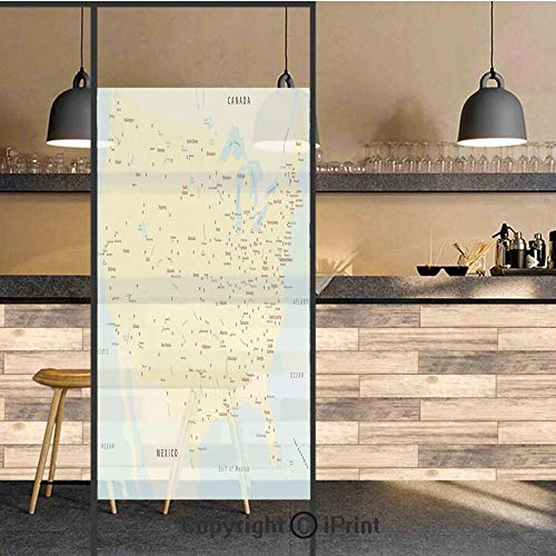 3D Decorative Privacy Window Films,United States Interstate Map America Cities Travel Destinations Road Route Decorative,No-Glue Self Static Cling Glass film for Home Bedroom Bathroom Kitchen Office 2