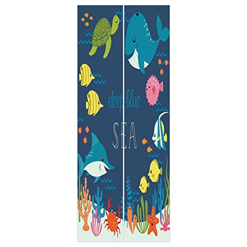 (3d Door Wall Mural Wallpaper Stickers [ Cartoon Decor,Artsy Underwater Graphic with Algaes Coral Reefs Turtles Sword Fishes the Life Aquatic Motion,Multi ] Mural Door Wall Stickers Wallpaper Mural DIY)