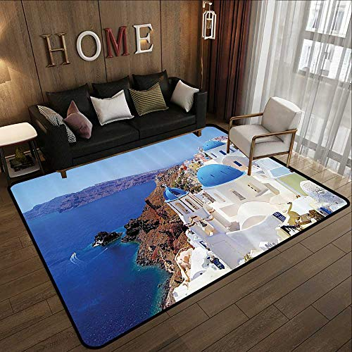 Rubber mat,European City Decor Collection,Santorini Greece Scenery View Picture White Stone Old Houses,Blue White 35