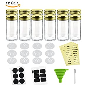Nellam French Round Glass Spice Jars – Set of 12 with Shaker Lids and Chalkboard Sticker Labels, Small 4oz Bottles - Stackable Herbs and Spices Containers - Decorative Organizers in Gold