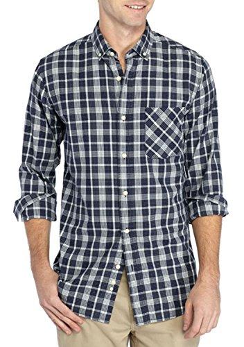 TRUE CRAFT Men's Long Sleeve Patterned Button-Down Shirt (Herringbone Navy Plaid, XX-Large) ()