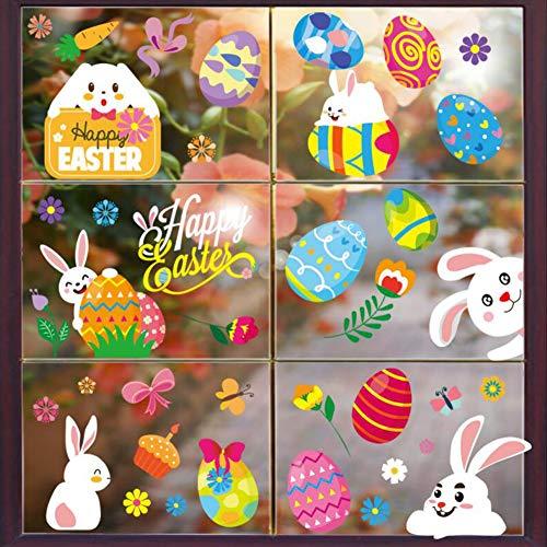 10 Hojas,Etiqueta de La Ventana de Pascua,Ventana de Pascua Adhesivos Decoración,Pegatinas Pascua Ventanas.(150)