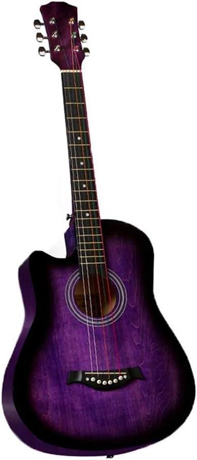 BAIYING-Guitarra Acústica Guitarra Clasica Práctica Estudiantil Transporte Al Aire Libre Suena Dulce Cuerda De Metal Tilo 38 Pulgadas con Mochila Impermeable, 9 Colores