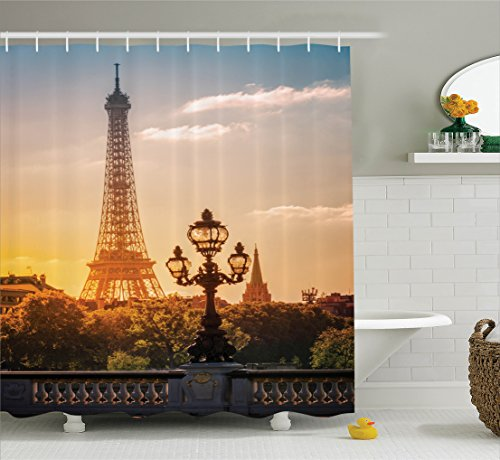 Ambesonne Wanderlust Decor Collection, Street Lantern on the Alexandre Iii Bridge Against the Eiffel Tower in Paris France Picture, Polyester Fabric Bathroom Shower Curtain, 84 Inches Extra Long, Blue - Alexandre Iii Bridge