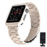 For Apple Watch Band, Eontry Stainless Steel Replacement Wrist Band Strap Link Bracelet Folding Clasp Metal Protective Case for Apple Watch iWatch Series 3/2/1 Sport and Edition (Vintage Gold, 42mm)