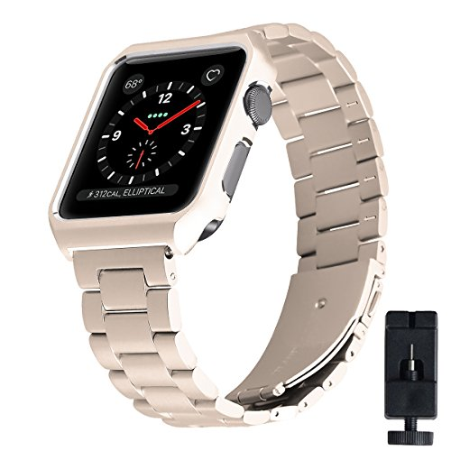 - For Apple Watch Band, Eontry Stainless Steel Replacement Wrist Band Strap Link Bracelet Folding Clasp Metal Protective Case for Apple Watch iWatch Series 3/2/1 Sport and Edition (Vintage Gold, 38mm)