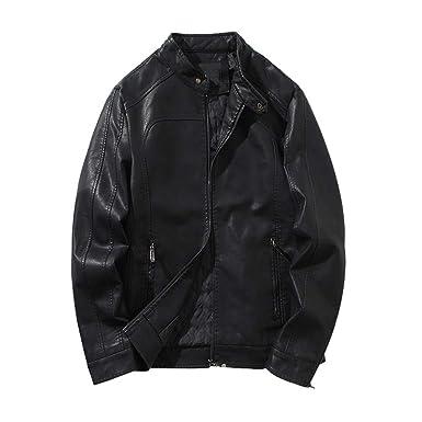 Lederjacke Herren Manadlian Männer Herbst Winter Leder Jacke Biker Motorrad  Reißverschluss Outwear Mantel Bomberjacke 1d013cee6c