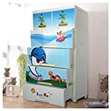 CY BAG Children's Wardrobe Organizer with 4 Drawers and 2 Storage Cabinets, Easy-To-Assemble Plastic Thicker Wardrobe